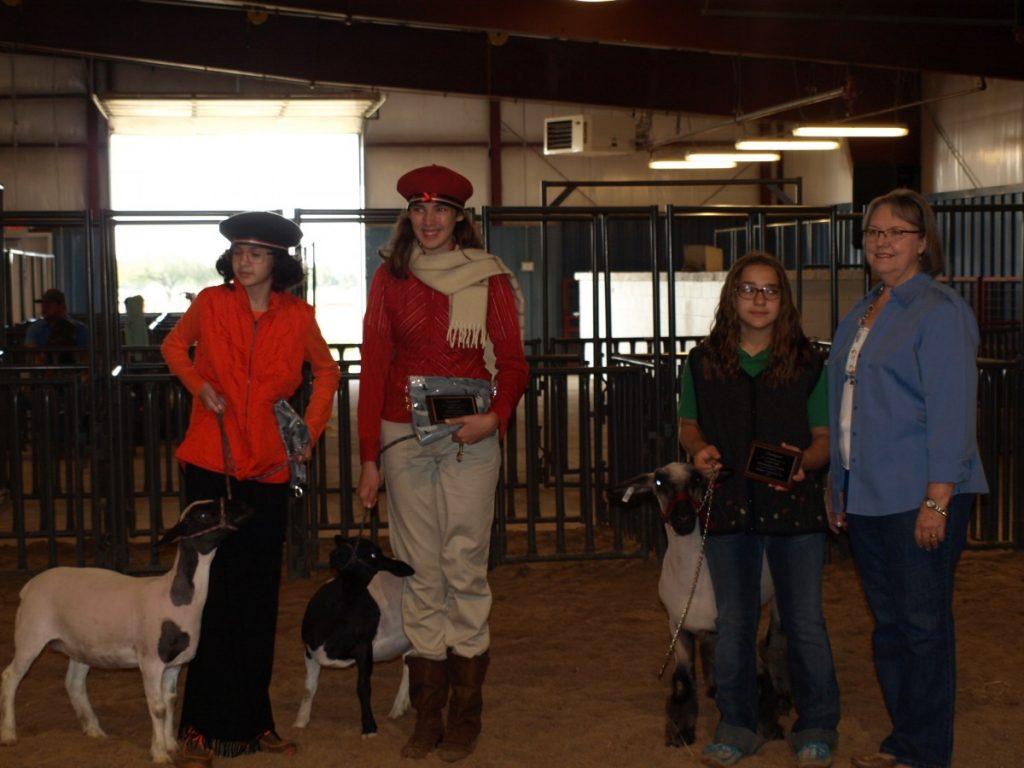 County Fair Lamb Lead winner (left to right):  Emma Davis, Callie Davis, and Kyleigh Bleeker.  At right, is Doris Johnston, President of the Okfuskee County OHCE, sponsor of the awards