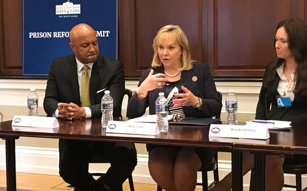Governor Mary Fallin makes a point Friday while Indiana Attorney General Curtis Hill and Brooke Rollins, former CEO and president of the Texas Public Policy Foundation who currently serves as an assistant to President Donald Trump in the Office of American Innovation, listen during a White House summit on criminal justice reform.