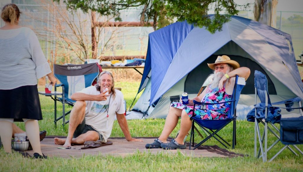 Woodyfest campsites are going quickly, as festival-goers already begin to set up shop Tuesday. (JOSH ALLEN/Okemah News Leader)