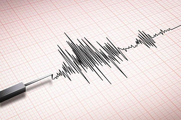 Closeup of a seismograph machine earthquake