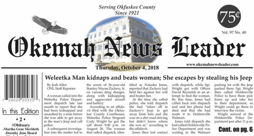 Top of current printed edition of the Okemah News Leader, featuring this story as top headline and many others. Don't forget to get your copy in order to keep up with the latest in Okfuskee County news. New edition weekly.