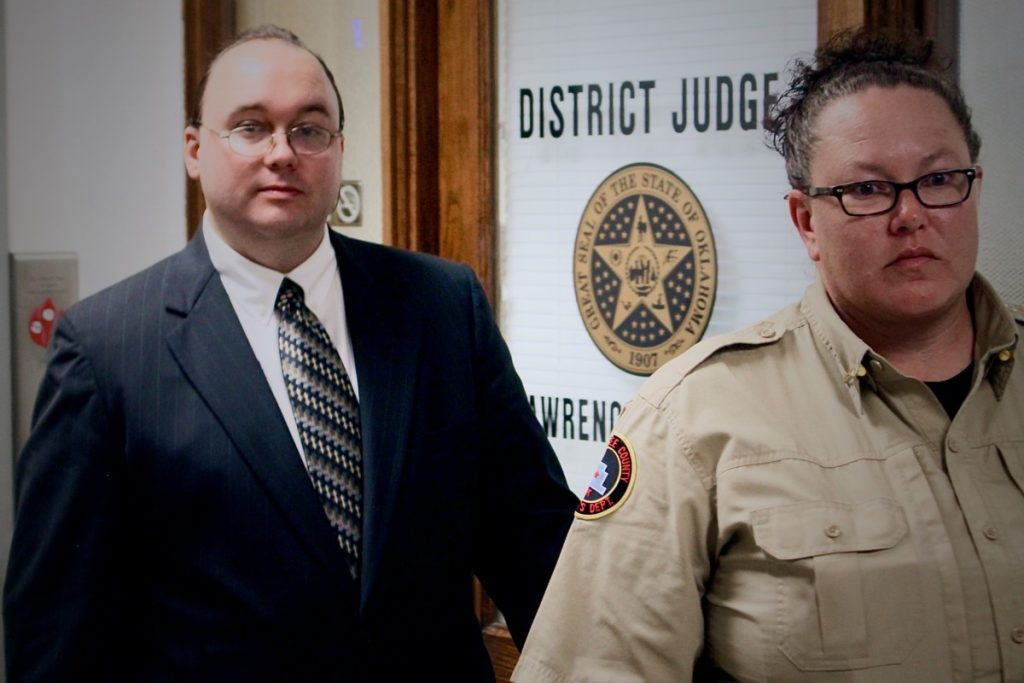 Michael Magness is seen being escorted into the Okfuskee County District Courtroom for jury selection Monday, beginning his trial for the 2015 first-degree murder of his wife, Elizabeth, in 2015.  (Josh Allen/News Leader)