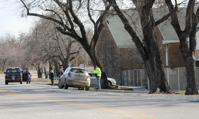 Authorities work a possible bomb threat at Graham High School in rural Okfuskee County Thursday, Jan. 24.  (Photo by Bruce Jones/thehenryettan.com)